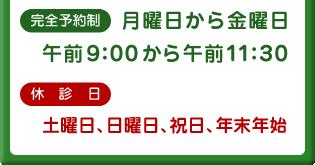 完全予約制 月曜日から金曜日 午前9:00から午前11:30|休診日 土曜日、日曜日、祝日、年末年始